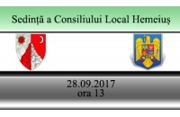 Ședință ordinară a consiliului local in data  28 septembrie  2017 , ora 13,00